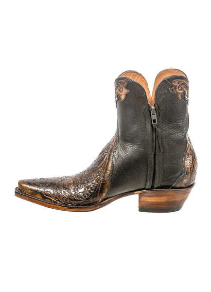 Black Jack Tooled Sanded Brown Bootie