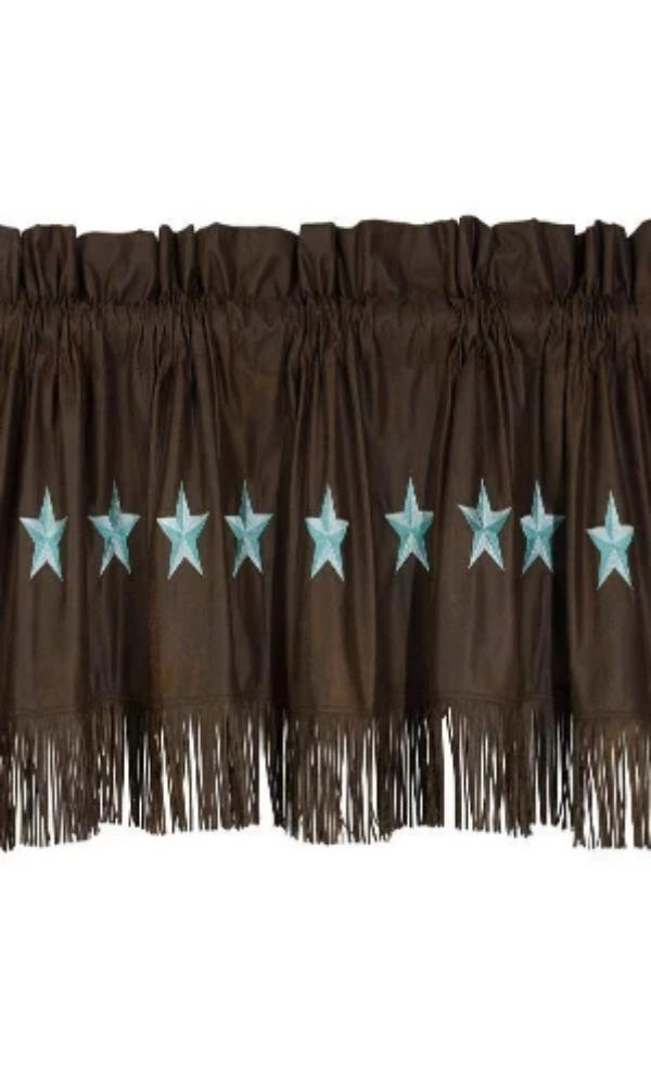 Cowgirl Kim Laredo Chocolate Faux Suede Valance w/ Turquoise Stars - Cowgirl Kim