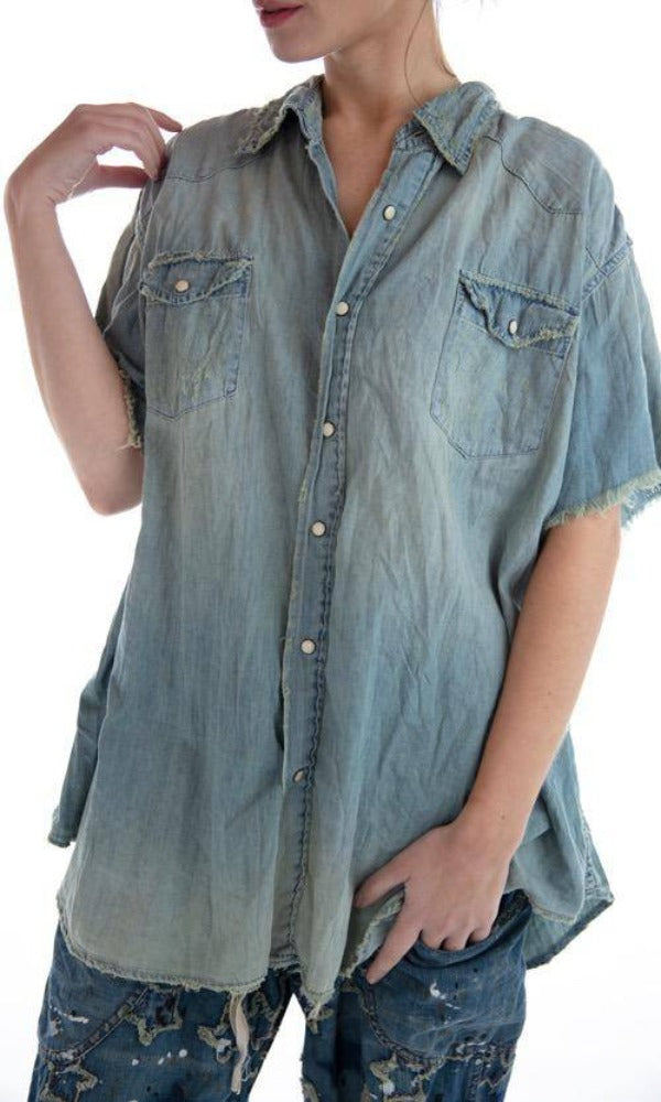 Magnolia Pearl Top 500 Denim Marfa Pearl Snap Workshirt - Washed Indigo