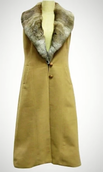 Cowgirl Kim Camel Wool Long Vest w/Natural Brown Rex Rabbit Collar - Cowgirl Kim
