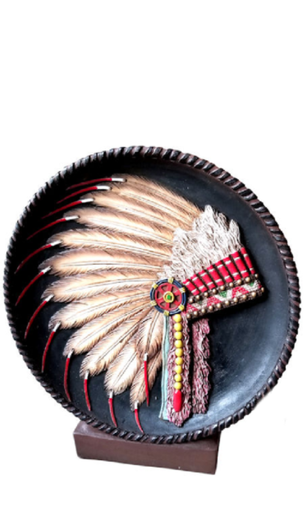 Cowgirl Kim Indian Headdress Table Plaque