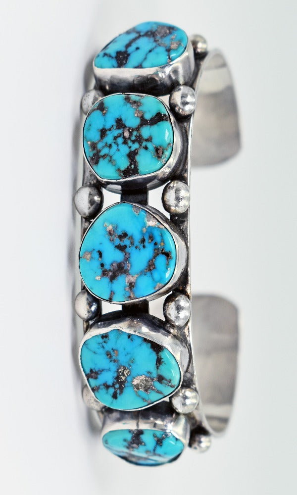 Vicki Orr Vintage 5 Stone Kingman Turquoise Sterling Silver Cuff Bracelet - Cowgirl Kim