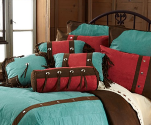 Cowgirl Kim Cheyenne Turquoise Faux Leather Comforter Set - Cowgirl Kim