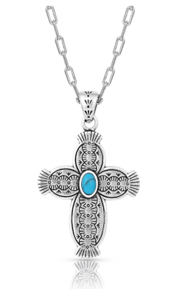 Montana Silversmith Royal Western Turquoise Cross Necklace - In Stock