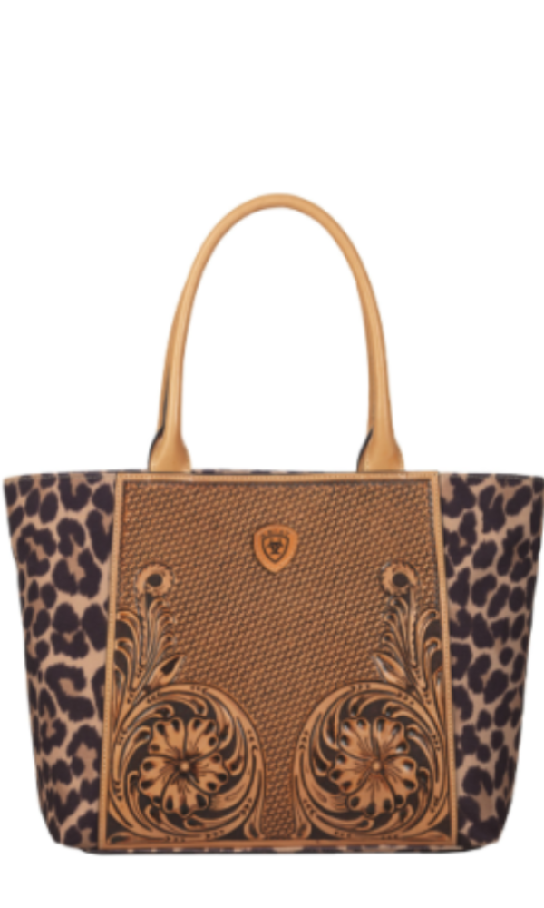 Ariat Tooled Leather and Leopard Tote Handbag