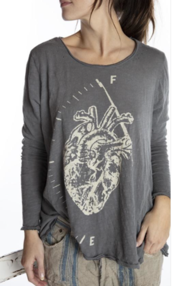 Magnolia Pearl Top 945 Full Heart Dylan Long Sleeve Tee - Ozzy