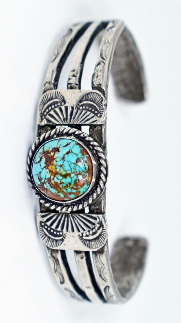 Vicki Orr Vintage #8 Turquoise Hand-Forged Sterling Silver Cuff - Cowgirl Kim