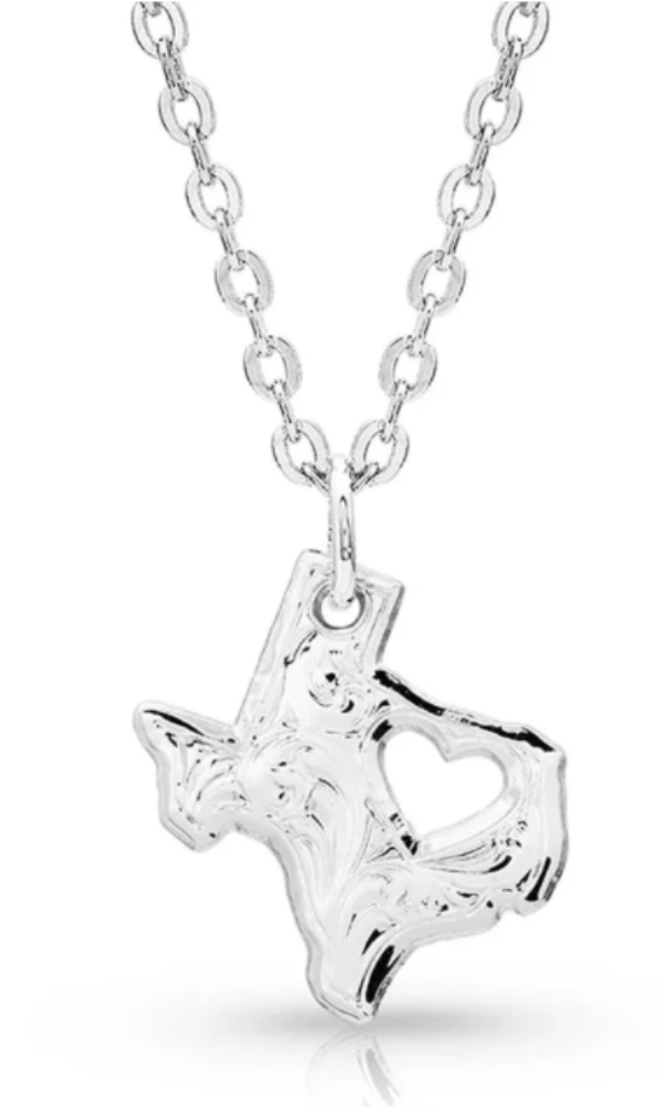 Montana Silversmith I Heart Texas State Charm Necklace - In Stock