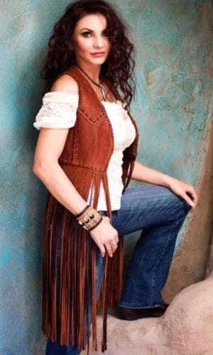 Wild Instincts Double Crossed Fringe Vest~ Chocolate Brown - Cowgirl Kim