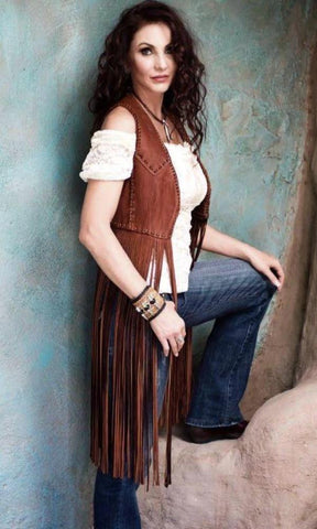 Wild Instincts Double Crossed Fringe Vest