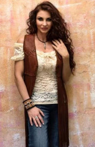 Wild Instincts Double Crossed Shorty Vest~ Tobacco