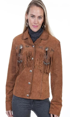 Scully Boar Suede Beaded Fringe Jacket~ Cinnamon - Cowgirl Kim