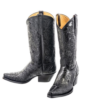 Liberty Boot Co. Juliet Hand-Tooled Black Leather Boots - Cowgirl Kim
