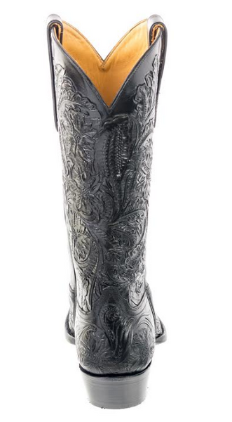 Liberty Boot Co. Juliet Hand-Tooled Black Leather Boots