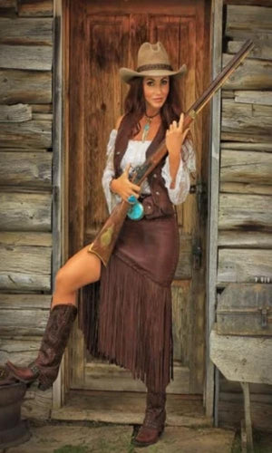 Wild Instincts Long Fringed Skirt- Chocolate Brown - Cowgirl Kim