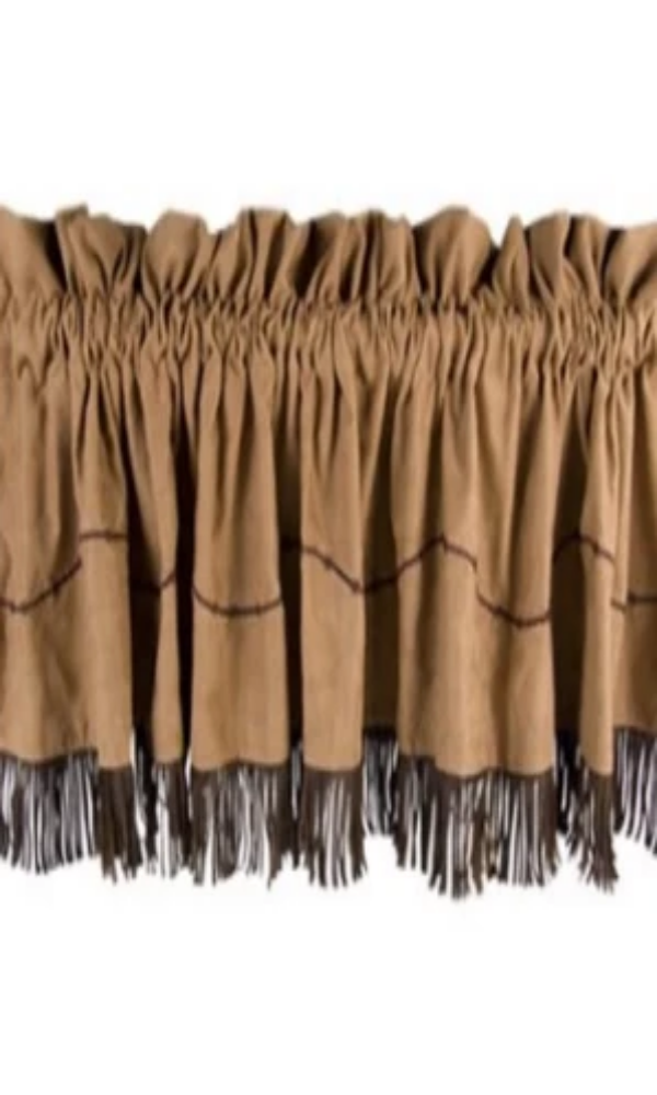 Cowgirl Kim Barb Wire Tan Faux Suede Valance
