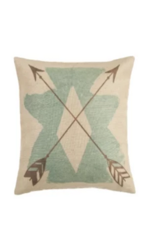 Cowgirl Kim Burlap Turquoise Aztec Pillow - Cowgirl Kim