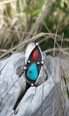 Vicki Orr Vintage Turquoise and Coral Ring
