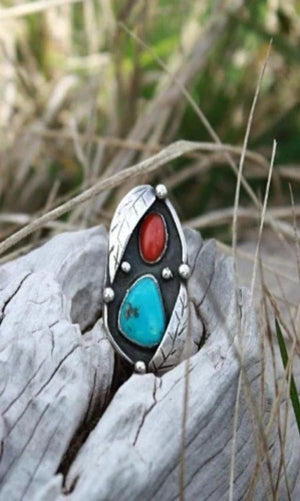 Vicki Orr Vintage Turquoise and Coral Ring - Cowgirl Kim