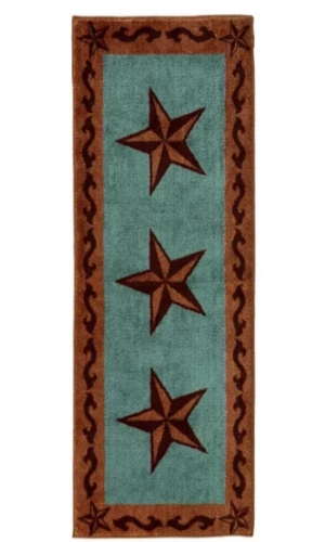 Cowgirl Kim Large Lone Star Print Runner~ Turquoise - Cowgirl Kim