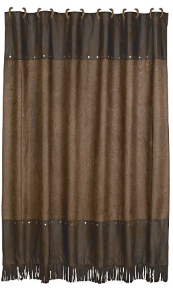 Cowgirl Kim Chocolate Tooled Faux Leather Shower Curtain - Cowgirl Kim