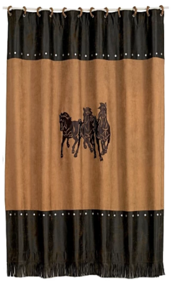Cowgirl Kim Faux Leather & Embroidered Horse Shower Curtain - Cowgirl Kim