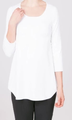 Sympli Go To Classic T - White 3/4 Sleeves