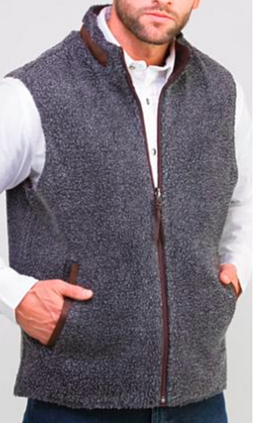 Madison Creek Outfitters Men's Teton Reversible Vest~ Dark Brown/Charcoal Sherpa