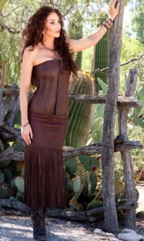 Wild Instincts Full Leather Corset~ Chocolate Brown