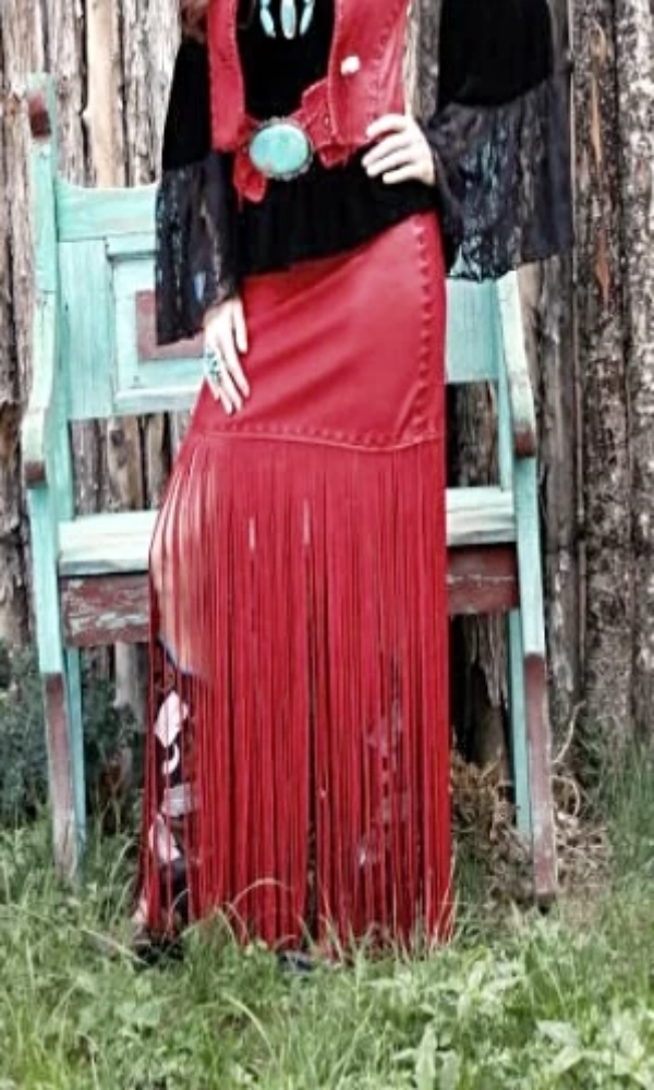 Wild Instincts Long Fringed Skirt- Red