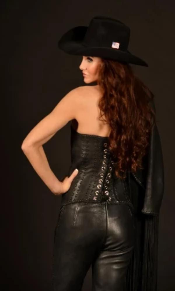 Wild Instincts Full Leather Corset~ Black - Cowgirl Kim