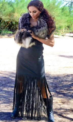 Wild Instincts Long Fringe Dress~ Black