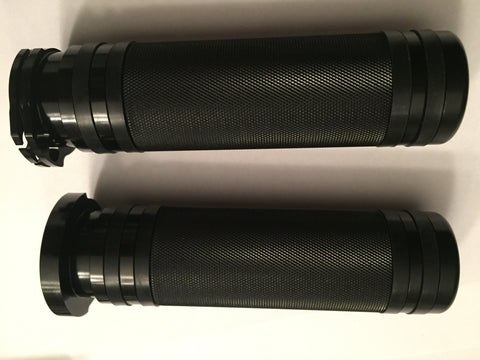 Black CNC Grips with Rubber Comfort Bands