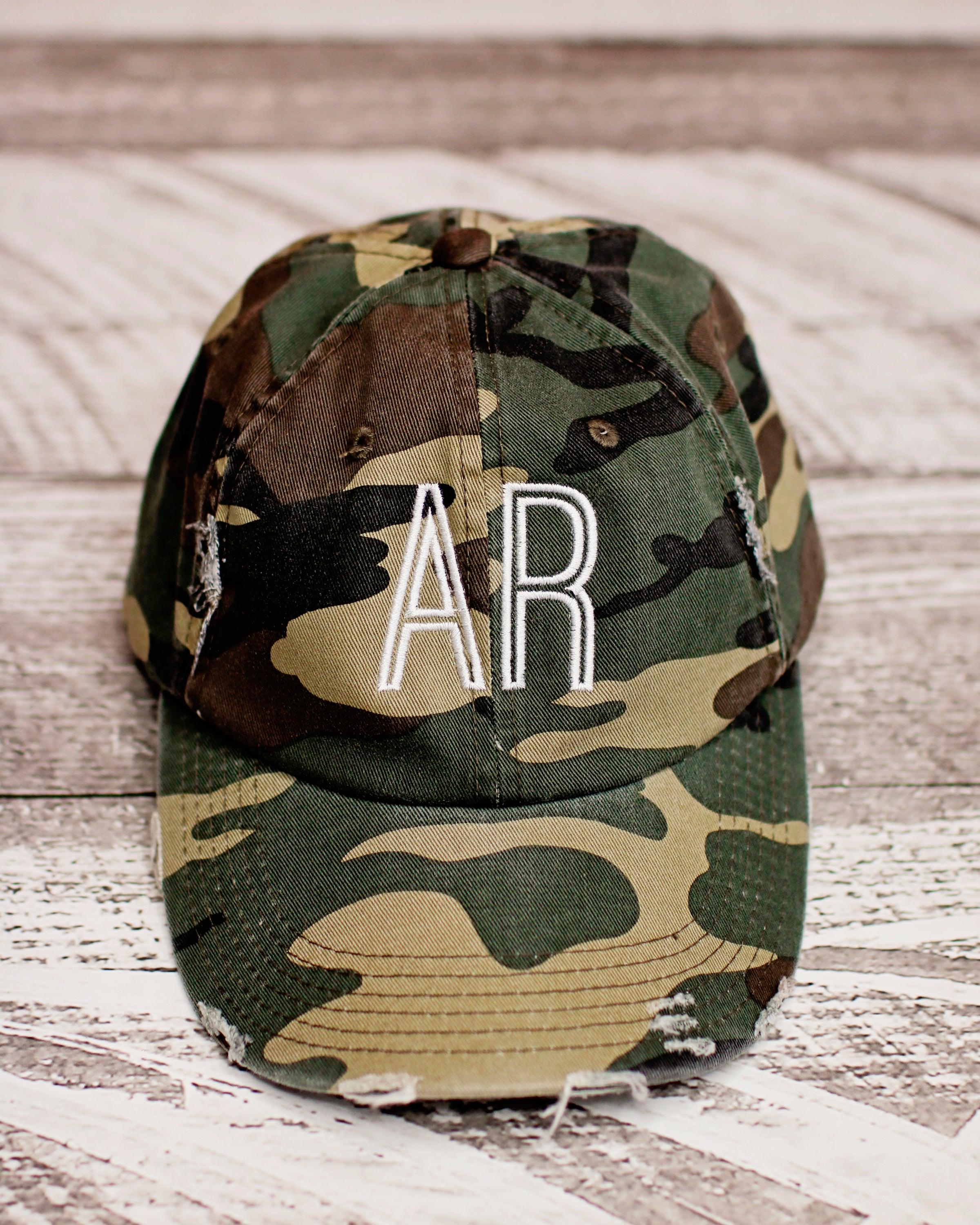 39f29be0 Monogrammed Distressed State Camo Hat – Lala Lovelees