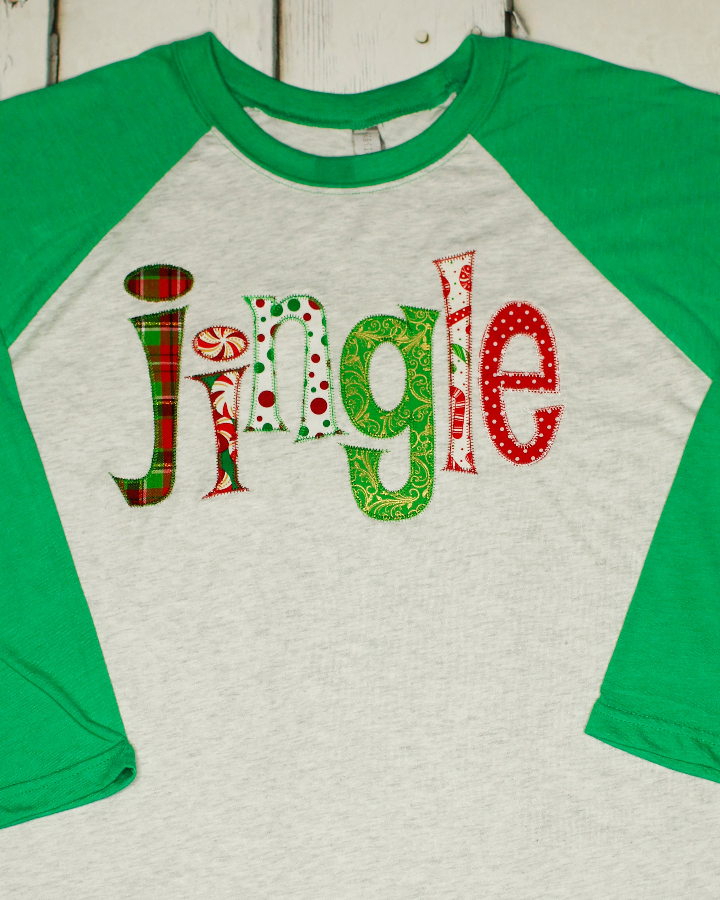 a65cd58a95afd Applique Jingle Christmas Raglan