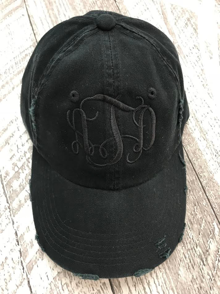 Monogrammed Distressed Hat  Monogrammed Distressed Hat ... 8ed429bf1e45