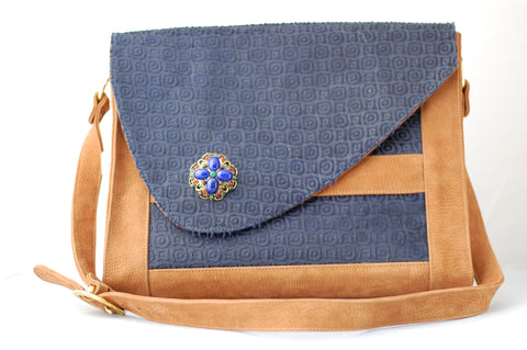 Porsche Messenger Bag- Navy Blue and Bronze - Not Only Bags