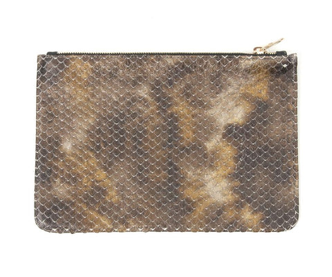 Unabashed™ Textured Snakeskin Pouch- Brown - Not Only Bags
