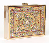 Unabashed™ Medallion Hand-Painted Marble Clutch- Gold - Not Only Bags