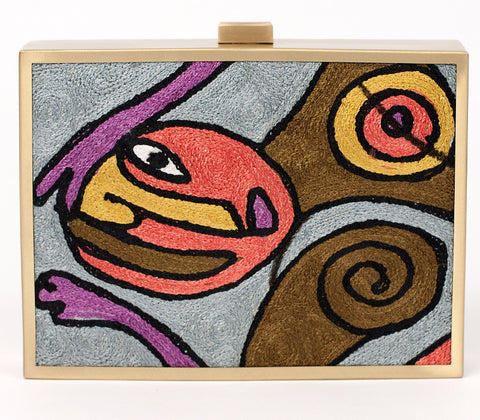 Unabashed™ Hand-Embroidered Cubism Clutch- Light Blue - Not Only Bags