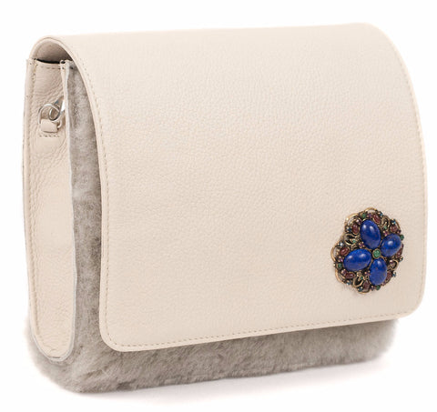 Unabashed™ White Leather and Gray Shearling Handbag - Not Only Bags