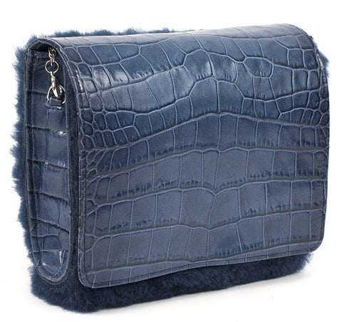 Unabashed™ Navy Alligator Leather and Shearling Handbag - Not Only Bags