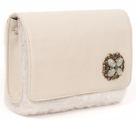 Unabashed™ White Leather and White Shearling Handbag - Not Only Bags