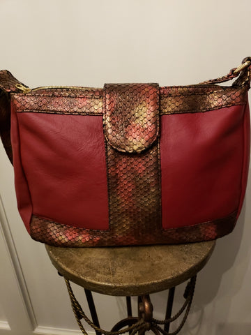 Unabashed™ Hobo Bag- Red and Brown Textured Snakeskin - Not Only Bags