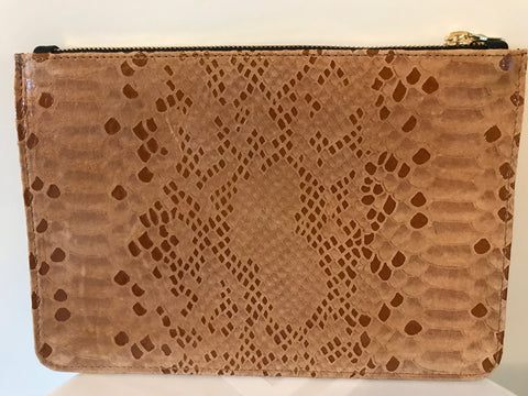 Unabashed™ Matte Snakeskin Pouch- Tan - Not Only Bags