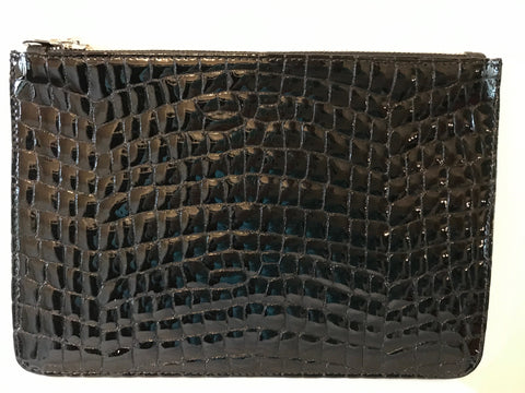 Unabashed™ Patent Snakeskin Pouch- Black - Not Only Bags