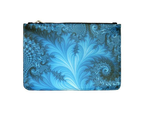 Unabashed™ Fractal Art Pouch- Blue Swirl - Not Only Bags