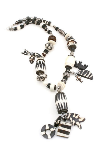 Kenyan Silver and Bone Charm Necklace - Not Only Bags