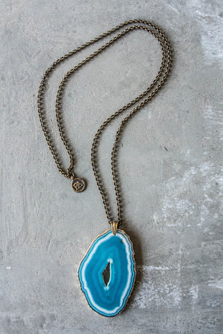 Regina Andrew Dottie Necklace with Teal Agate Geode - Not Only Bags