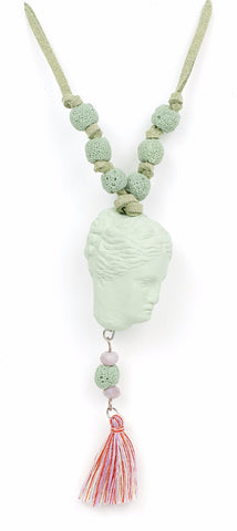 Hygeia Head Ceramic Pendant Necklace- Pastel Green - Not Only Bags